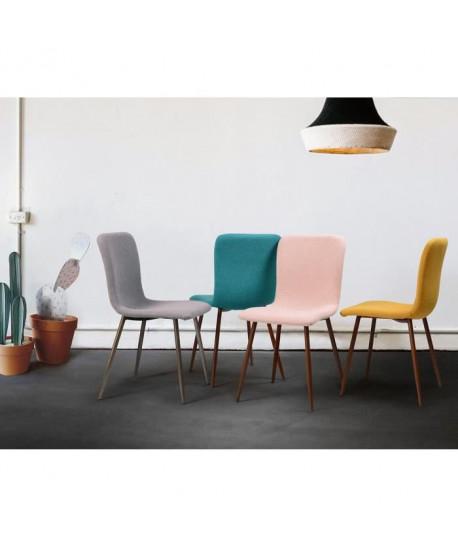 CUBA Lot de 2 chaises de salle a manger Simili gris Style contemporain L 49 x P 65 cm