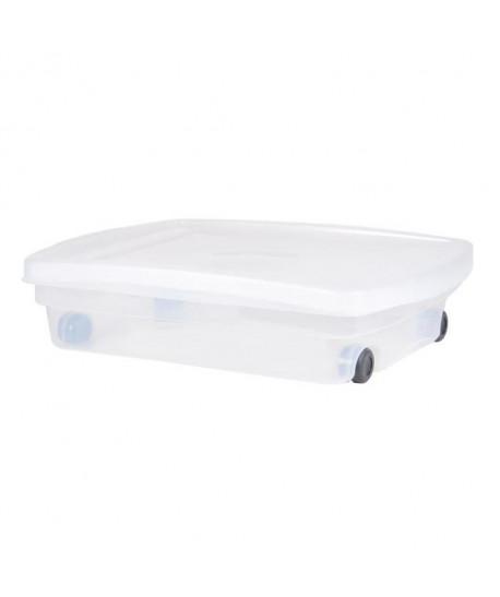 EDA PLASTIQUE Coffre de rangement dessous de lit 40 L avec roulettes  Naturel  68 x 48 x 17,5 cm