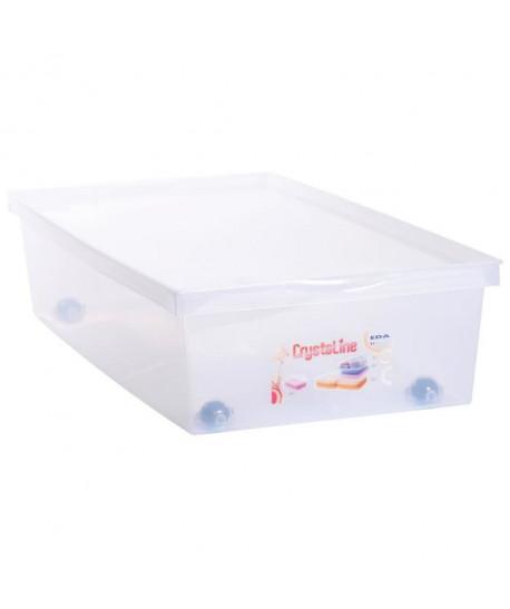 EDA PLASTIQUE Coffre de rangement dessous de lit 33 L avec roulettes  Naturel  72,7 x 39,5 x 17 cm