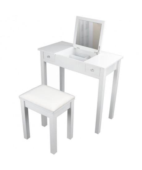 Coiffeuse classique en bois paulownia blanc  tabouret revetu de tissu blanc  L 80 cm