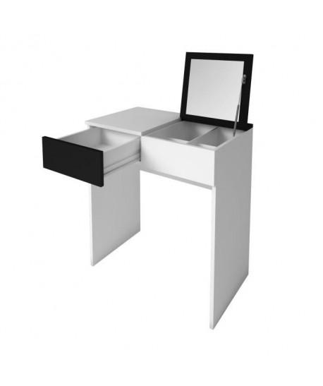 SARA Coiffeuse style contemporain  Blanc mat et noir mat  L 70 cm