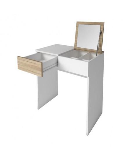 SARA Coiffeuse style contemporain  Blanc mat et décor chene clair  L 70 cm