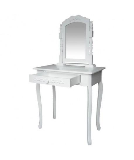 LAURA Coiffeuse  1 tiroir et 1 miroir  blanc L 74 x P 40 cm